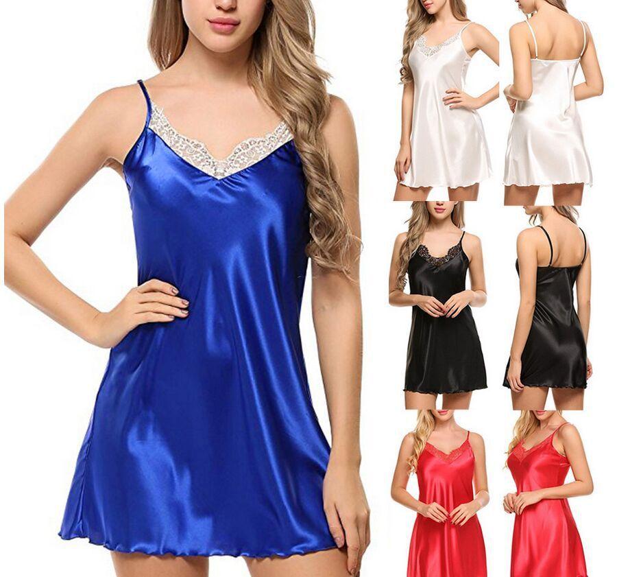 Pizzo scollo a V Camicia da notte sexy della biancheria camicie da notte degli indumenti Night Dress donne senza maniche da notte Faux raso di seta da notte