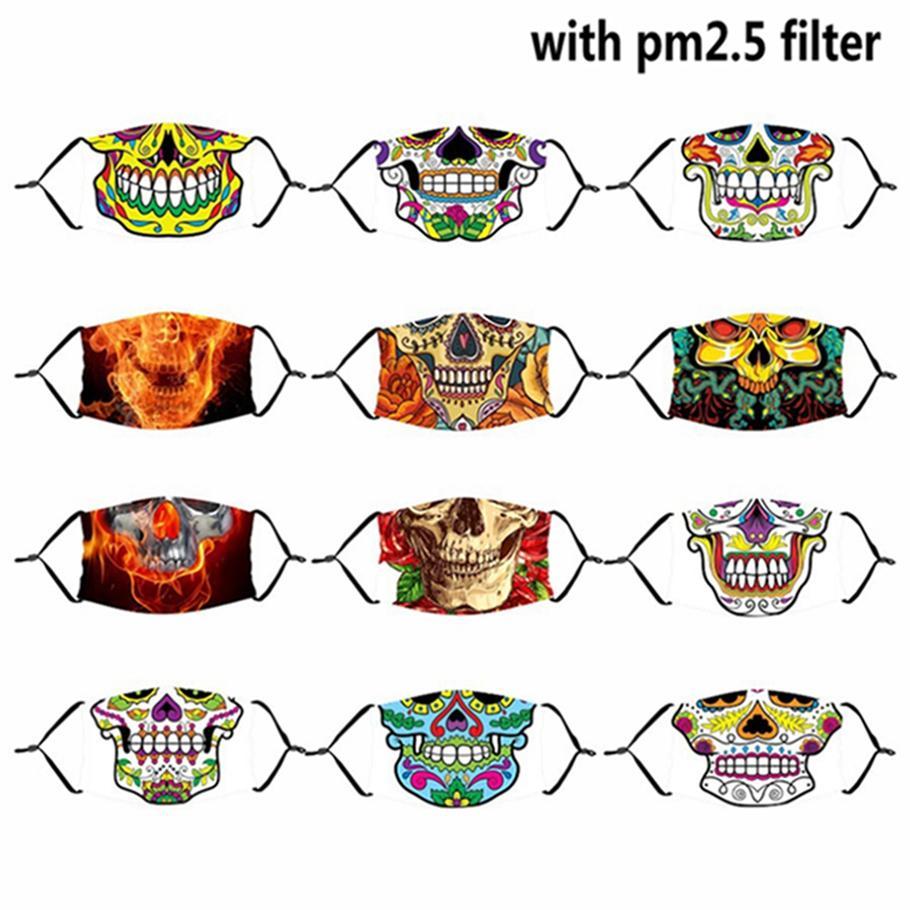 Schädel-Gesichtsmaske mit PM2.5 Filter Seidenstoff Waschbar Wiederverwendbare Anti-Staub-Masken Halloween Schutzgesichtsmaske Erwachsene Kinder HHA1487