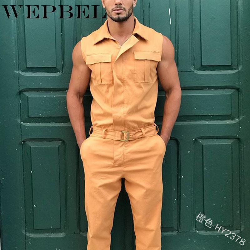 WEPBEL informal camisa del color sólido de la cremallera superior largo Pantalones de entrenamiento Mono Trajes de verano de los hombres sin mangas Deporte de Playsuit