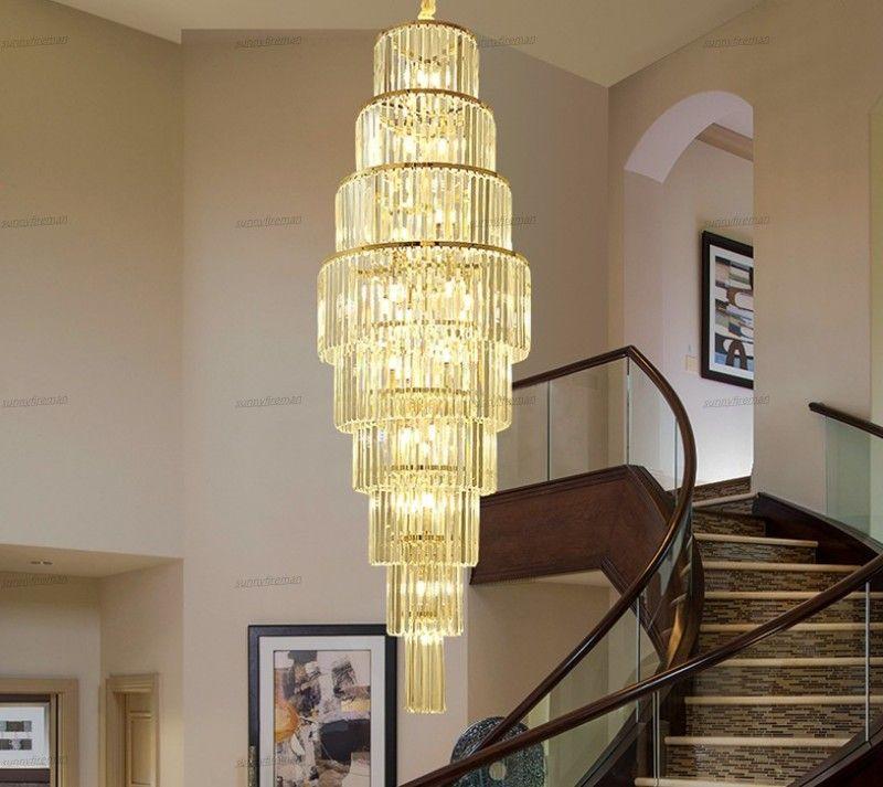luxo K9 ouro cristal teto moderno rodada lâmpada quadrado villa escada multi-camada de LED Lighting Living lustre quarto quarto