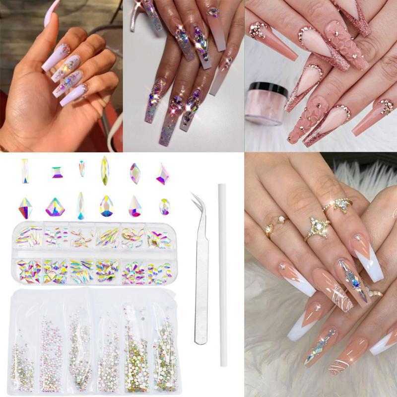Çoklu Şekiller Kristal Rhinestone Flatback Nail Art Dekorasyon Manikür Aracı Set Tırnak Yama Chiodo Nails Sticke