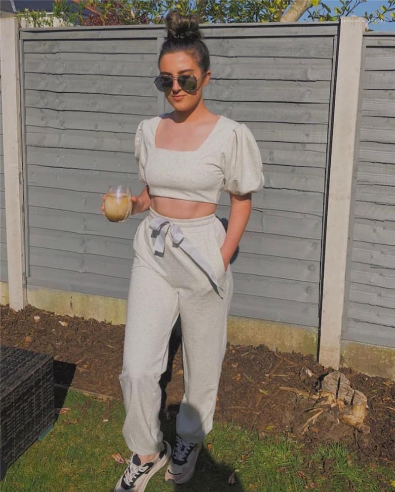 Encolure carrée manches bouffantes Sweatpants Ensembles Casual Crop Top Lace Up Deux Pantalons Piece Mode Femmes Ensemble 2 pièces solides