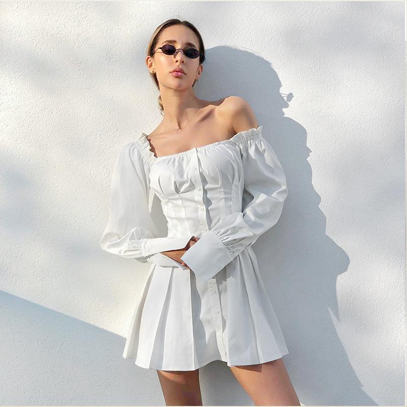 Dabourfeel Seksi, Off The Omuz Düğmesi Beyaz Mini Elbiseler Kadınlar Uzun Kollu Kılıf gömlek elbise vestidos Festa Yaz 2020