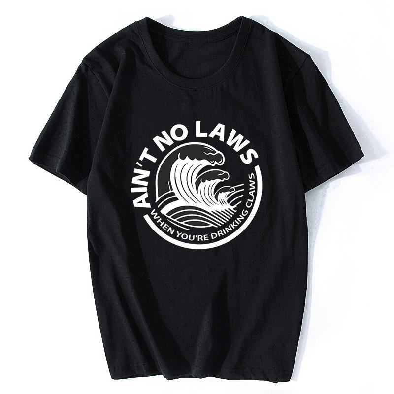 não é nenhuma lei Quando você está bebendo Garras preto camisetas Streetwear Homens T-shirt Camiseta masculina Camiseta Homme Harajuku 2020