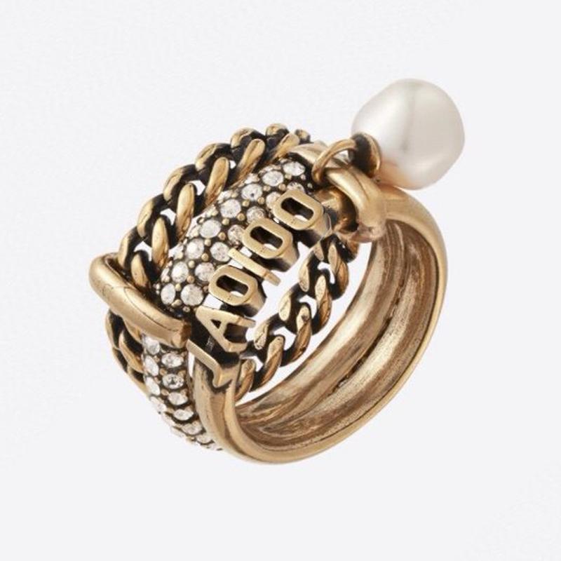 C1973 europäischen und amerikanischen Retro neuen Zeigefinger Mode hohen Sinn für mehrschichtige Perle Zirkon Kette Luxus-Designer-Schmuck Frauen Ring