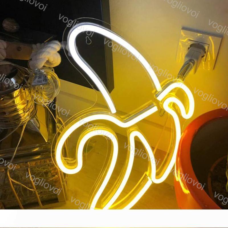 أدى النيون SMD2835 داخلي ليلة ضوء تصميم الموديل الموز مع شفاف لوحة الكترونية معززة حزب عطلة عيد الميلاد الزفاف الجدول مصابيح DHL