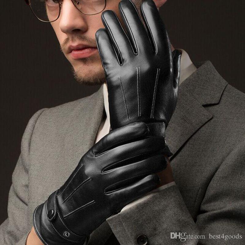 2 pcs / paire 3 lignes Noir Hommes Gants en gros hommes luxueux PU cuir épais hiver bouton écran tactile cachemire équitation