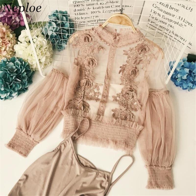 Neploe Plus Size Blusa Blusa coreano Lace Blusas Floral Crochet Gauze Mulheres shirt de manga comprida Perspecitive 2piece Set Top 347881