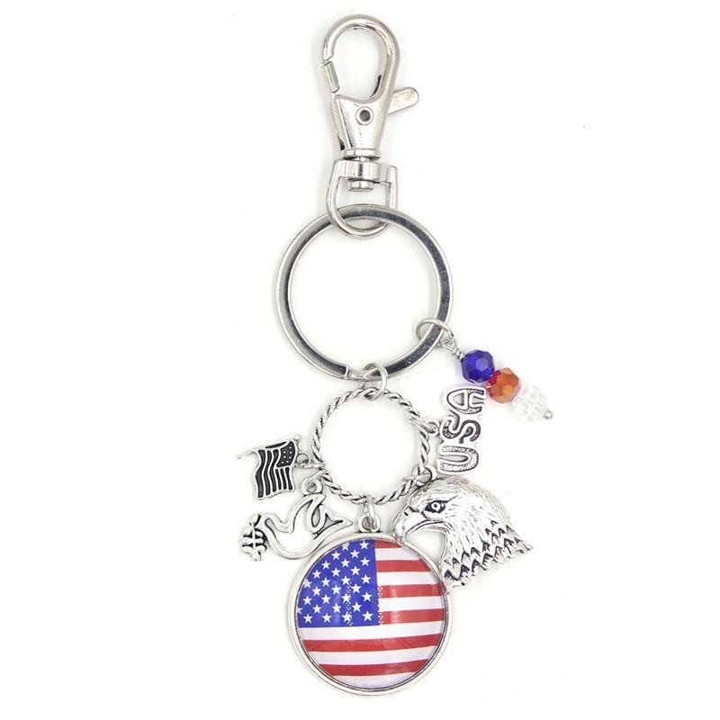 Llavero de la bandera al por mayor de EE.UU. Patriótico Estilo de la cadena clave llavero cabujón Impreso estadounidense EE.UU. Bandera mochila regalos titular de la clave