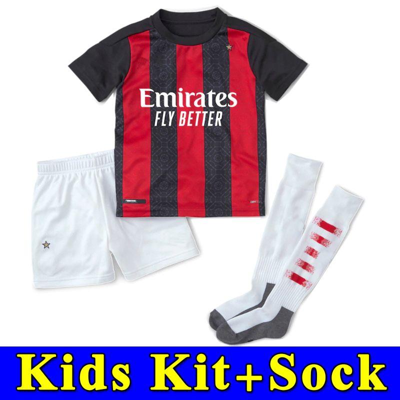2020 20 21 Ac Milan Soccer Jersey 2020 2021 Football Kit Shirt Kids Ibrahimovic Paqueta Bennacer Rebic Romagnoli Calhanoglu Boy Sets With Socks From Popjersey2018 13 06 Dhgate Com