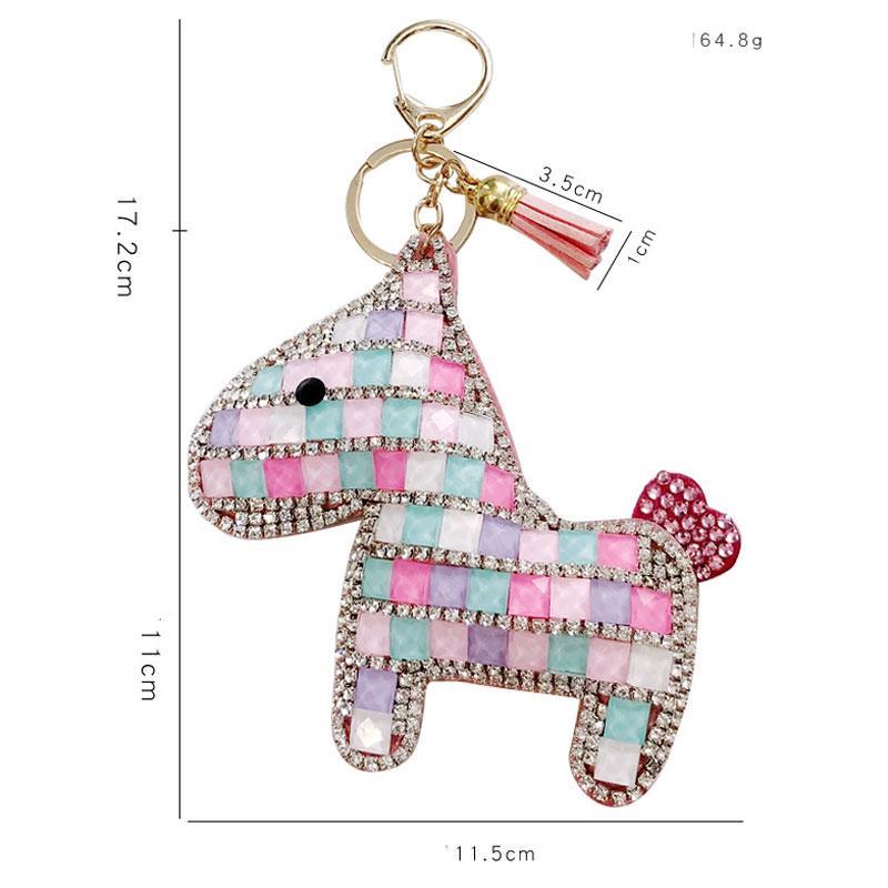 Cuero de estilo coreano unisex de diamante completo del potro llavero personalizado Pony cadena dominante del coche bolsa colgante