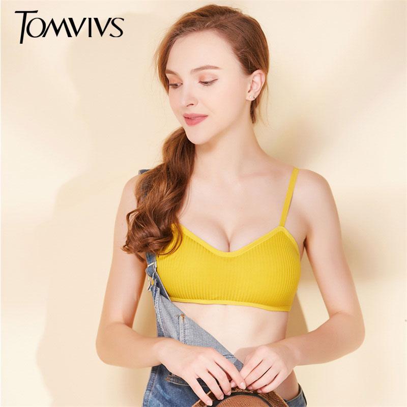TOMVIVS algodón suave sujetador inconsútil de las mujeres empuja hacia arriba la ropa interior femenina inalámbrica Bras Pequeño busto femenino ajustables blusas Brassiere