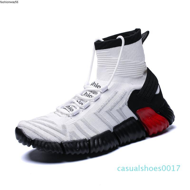 Top Sock Sapatos Homens 2020 respirável alta Black Light Red Shoes Cansual não derrapante macio Sapata Running For Man Tenis Masculino adulto c17