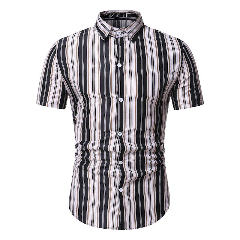 2.020 homens tarja lazer da camisa havaiana de manga curta botão Fit camisa de moda TW35 verão de Men