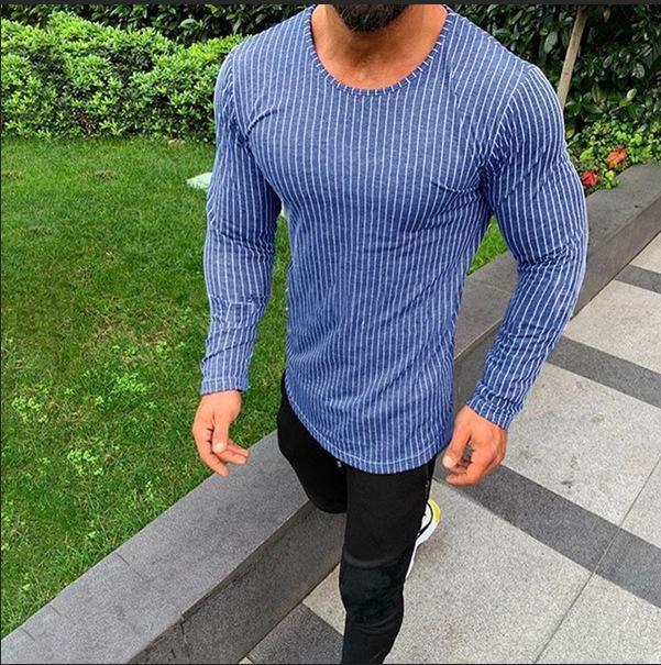 Ebaihui frühling und sommer männer tragen oberbekleidung basis shirt schlank vertikale streifen t-shirts männer langarm baumwolle tshirt h912210