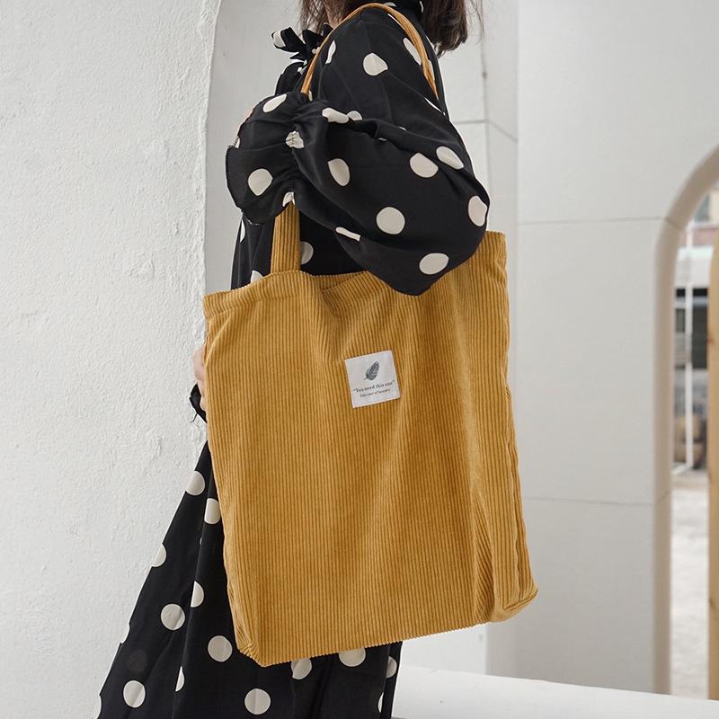 여성 코듀로이 저장 쇼핑 가방 여성 캔버스 천 어깨 가방 환경 저장 핸드백 재사용 가능한 접이식 에코 식료품 토트