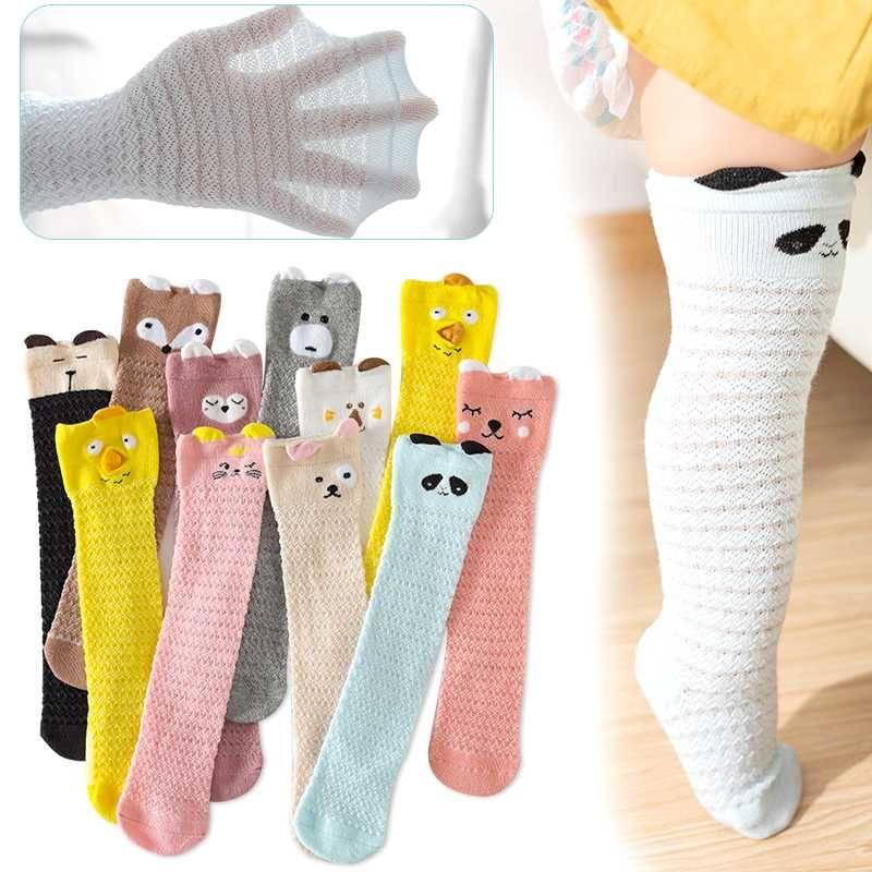 1 пара Baby Girl Summer колено высокие носки хлопковые сетки Носки для Новорожденных Cartoon Baby Boy дешевку Одежда Аксессуары