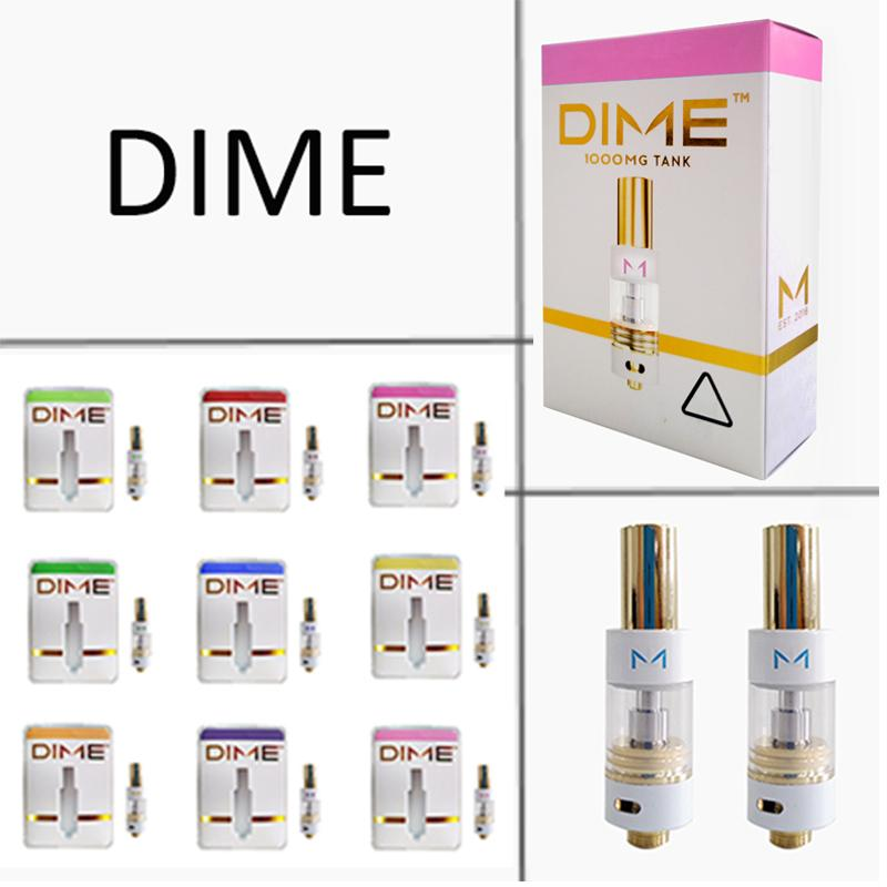 DIME 0.8ml 1.0ml Vape Carts Cartridges Packaging Ceramic Coil Glass Tank Thick Oil Vaporizer Vaporizer Empty Atomizer With Packaging Box