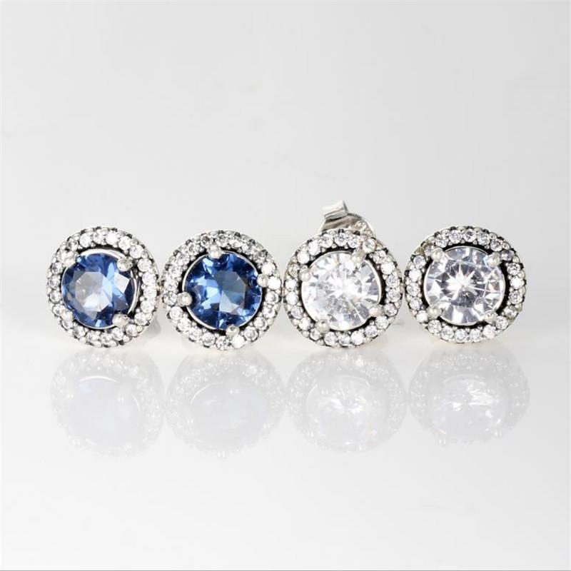 جديد السيدات أزياء فاخرة مجوهرات مصمم أقراط باندورا 925 فضة الأزرق والأبيض 2 لون كريستال أقراط الماس للنساء