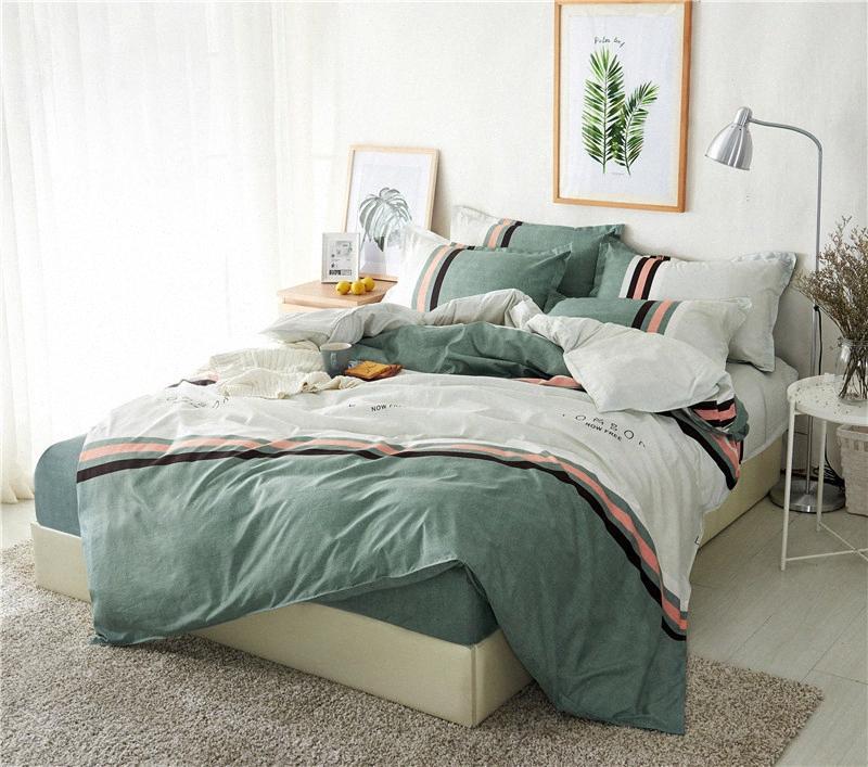 BEST.WENSD 12 algodão simples conjuntos de roupa de cama qualidade macia Folha comfortab capa de edredão + Plano + fronhas Home Textile Lençóis YyO8 #