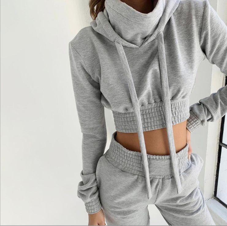 NUEVOS 2020 señoras del otoño ocasional del deporte de diseño de patrones VENDIDO CHANDALS SUAVE materail GRIS S-XL superior corto y pantalones largos ENVÍO GRATIS