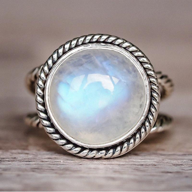 Circolare simile Moonstone anello 925 monili d'argento Retrò partito semplice di modo generoso dell'anello di goccia di trasporto del regalo 4ylf #