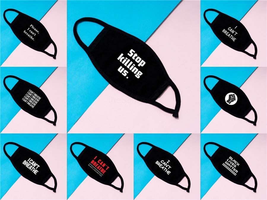 Kara Hayatlar Matter Yüz George Floyd Yetişkin Maskesi Yıkanabilir Yeniden kullanılabilir Yüz Tasarımcı Baskılı Maske Maskeler Breathe Can not 5Styles Rra3159 # 511 Maske