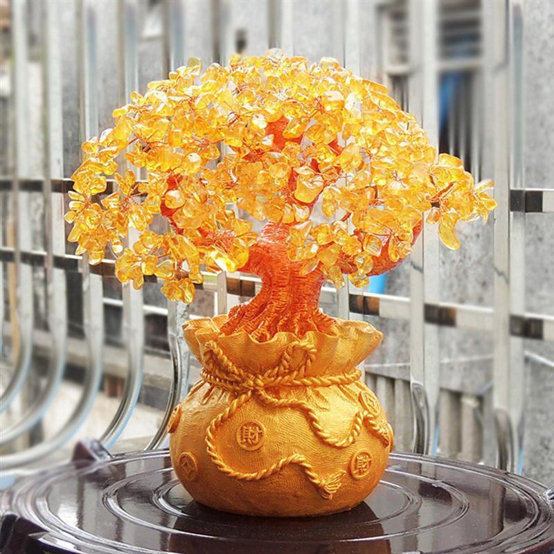 Chanceux 19cm cristal naturel arbre d'argent Décorations d'arbre Bonsai style richesse chance Feng Shui Ornements Décoration d'intérieur T200710