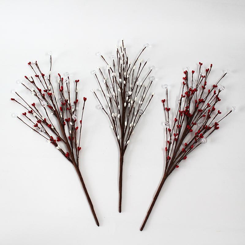 3pcs / lot de casamento florais do partido Decorações artificiais bagas Flores para Home Decor Flower Bouquet acrílico Beads Decoração