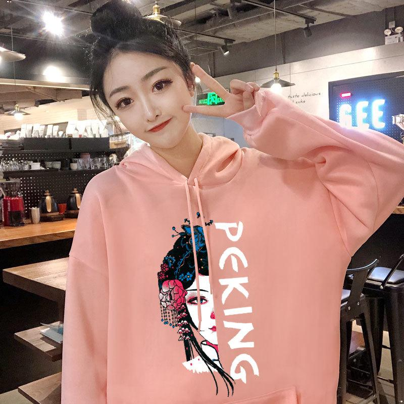 New film fleece female hooded ins qiu dong han edition add wool coat loose boom thickening bf languid is lazy T200722