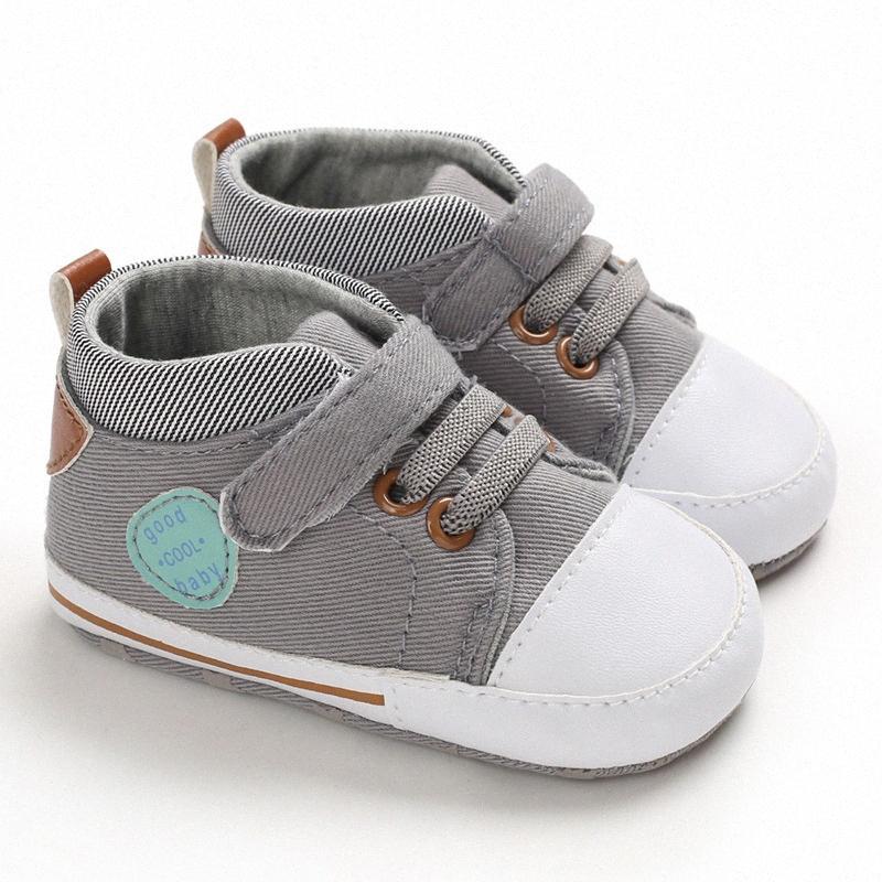 Casual Summer bebé suave Wild Boys zapatos de lona sólido recién nacido pequeño niño de los cabritos Zapatos GczX #