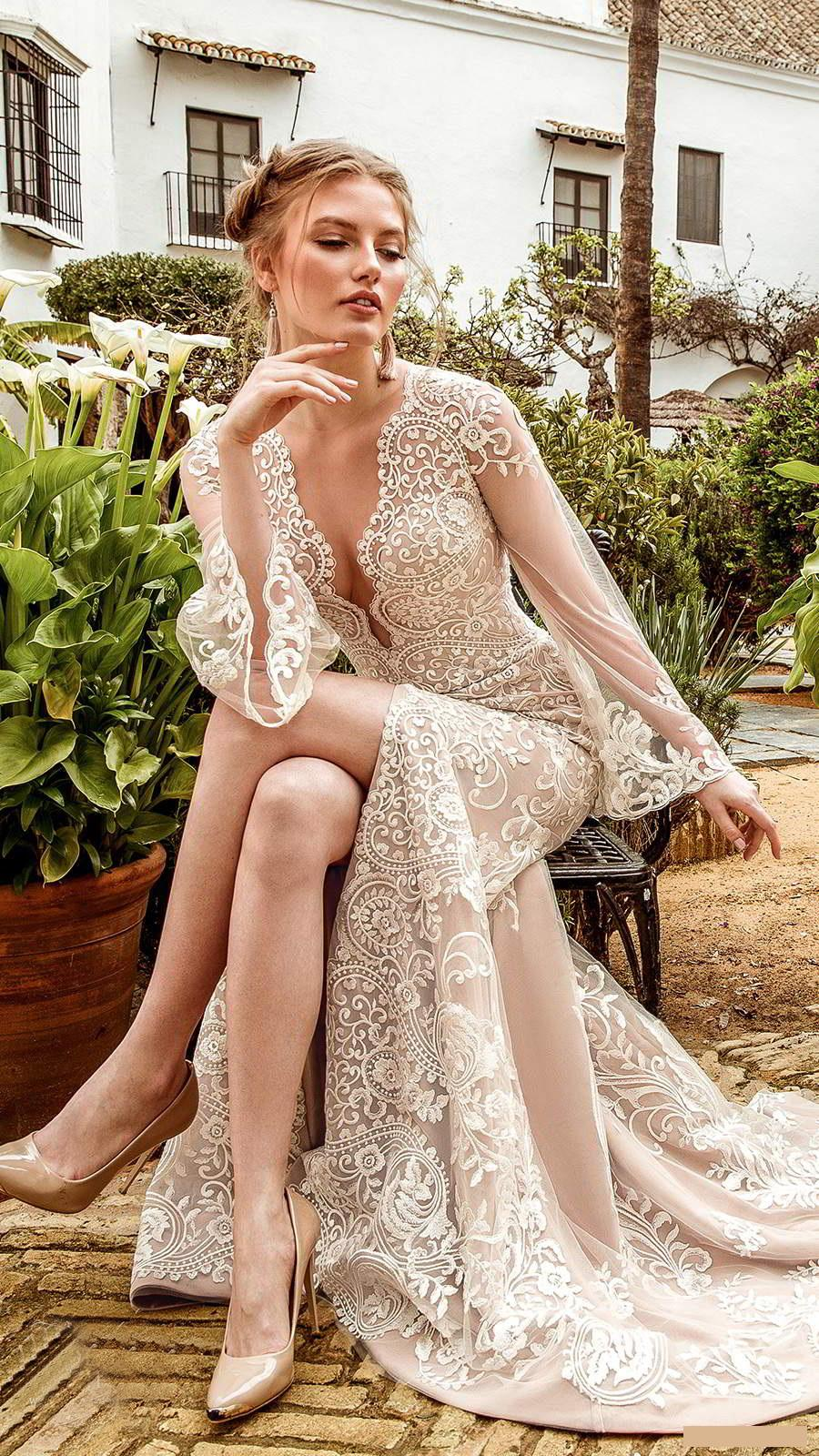 Wedding Dresses Sheath Column Bridal Long Sleeves Gowns Appliques V Neck Size 4 6 8 10 12 14 16 18 20 22 24