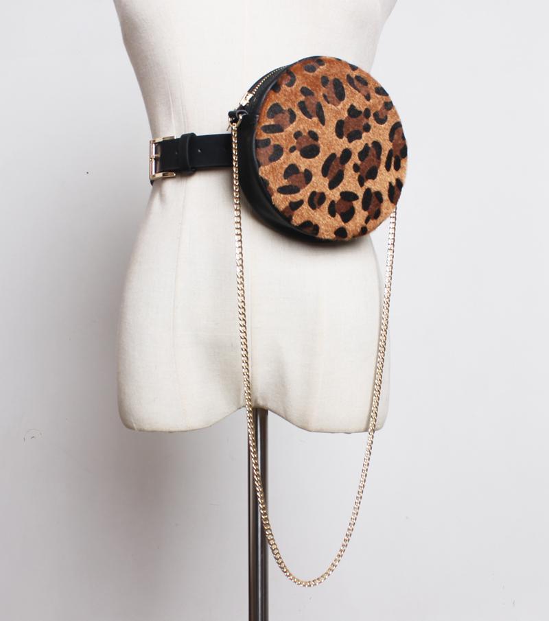 Moda Bolsa de cintura redondo del círculo de la PU del guepardo del leopardo de la vendimia del cuero clásico de alta calidad paquete de la cintura extraíble correa del bolso