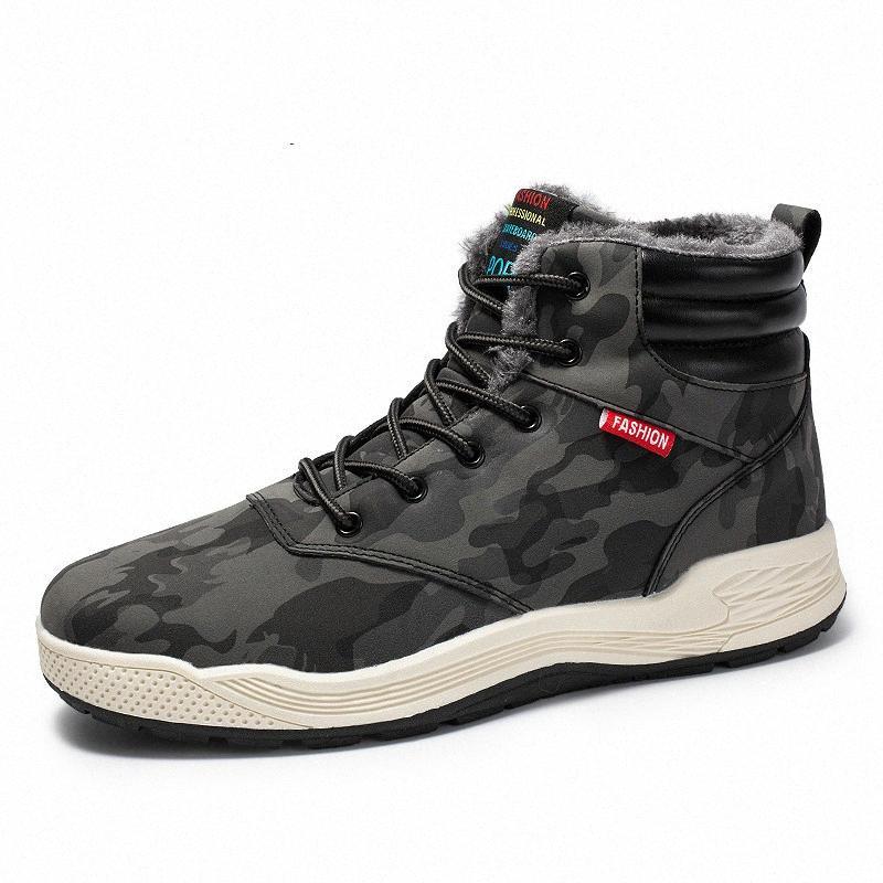 Nuevo 2019 de los hombres de cuero caliente botas de moda otoño invierno Algodón Marca cargadores del tobillo ata para arriba los zapatos de los hombres informal de gran tamaño 7 11 Piel Botas Blac 8Arw #