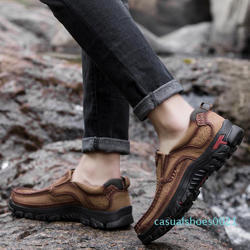 Hombres Zapatos Guenuine cuero de los hombres los zapatos respirables 2020 Primavera Verano zapatos casuales para hombre Calzado de diseño de moda pesada Pisos c21