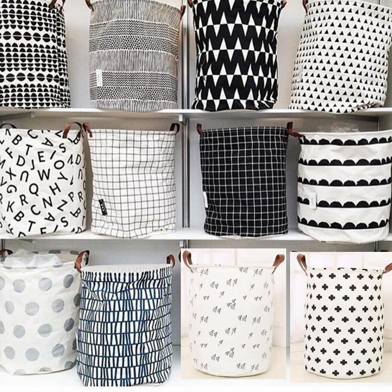 Bolsas Cestas INS almacenamiento papeleras habitación de los niños Juguetes de almacenamiento Cubo ropa del organizador de lavandería bolsa de mano Organizador del palo del lunar de lavandería SF186