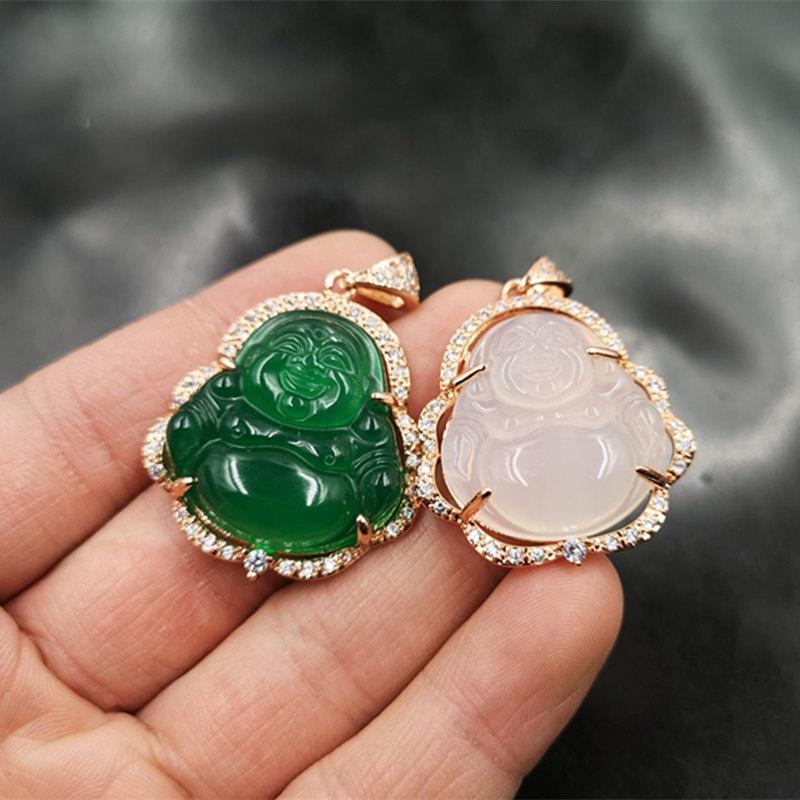 gros de haute qualité en argent S925 agate Maitreya incrusté collier pendentif de jade buddha coloré pour les femmes