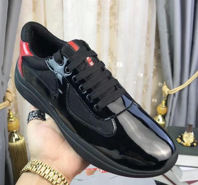 Prada Moda Trend Erkek Ayakkabı Gerçek Deri ve Mesh Nefes Erkekler Boş Ayakkabı Lace Up Popüler konfor Sneakers Boyut 38-45 klj03