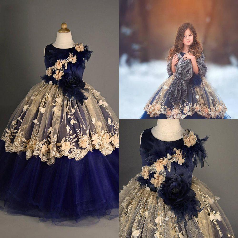 Últimas Cute Girl Vestidos de baile Jewel Neck Lace 3D florais Appliqued pena do partido vestidos de crianças Girls Dress Pageant