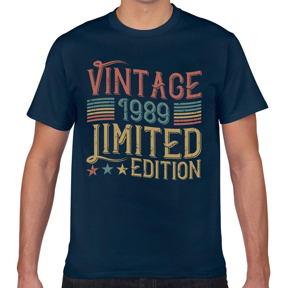 Tops T shirt da uomo in edizione limitata 1989 30 compleanno di Kawaii Iscrizioni Geek corto maschile maglietta XXX