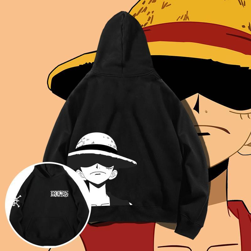 Una pieza caliente D Luffy la calidad del algodón camiseta de los hombres de Harajuku de Hip Hop con capucha sudaderas con capucha unisex Tops Streetwear Anime ropa