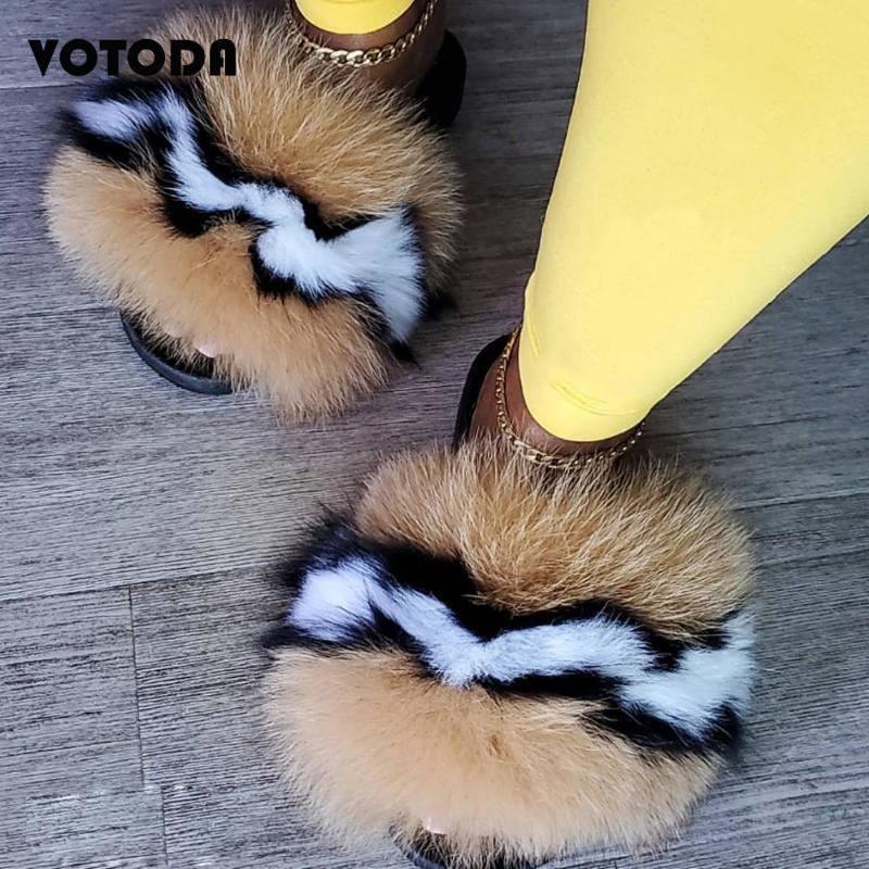 Nouvelle été femme fourrure Chaussons Fluffy Feal fourrure Flats Sandlas Mignon Accueil cheveux flip Folp Fashion Lady Chaussures