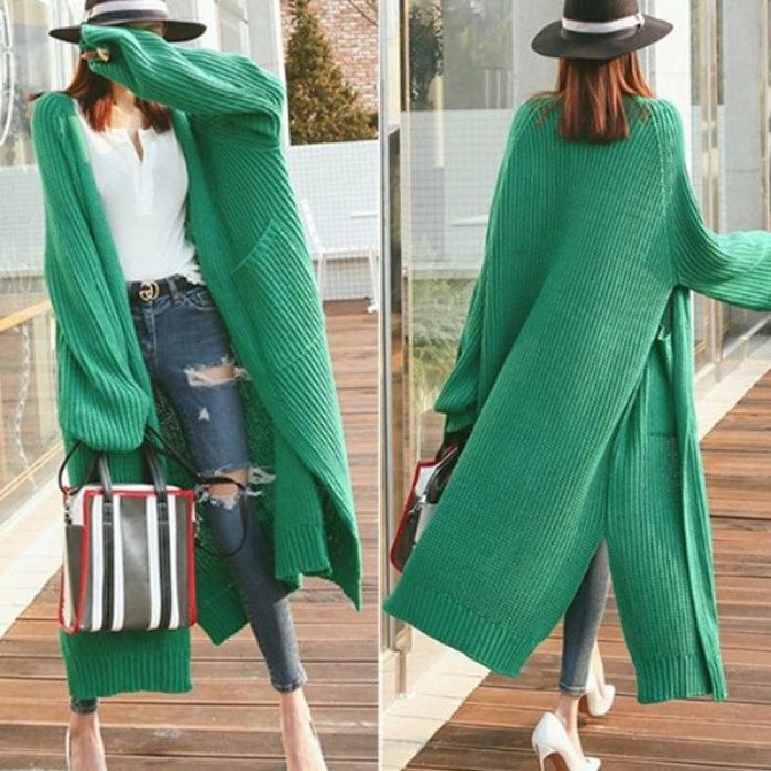 tNNET 2019 autunno e l'inverno stile pigro eccellente lunga oltre il ginocchio moda allentato cappotto ispessito cappotto maglione cardigan delle donne maglione