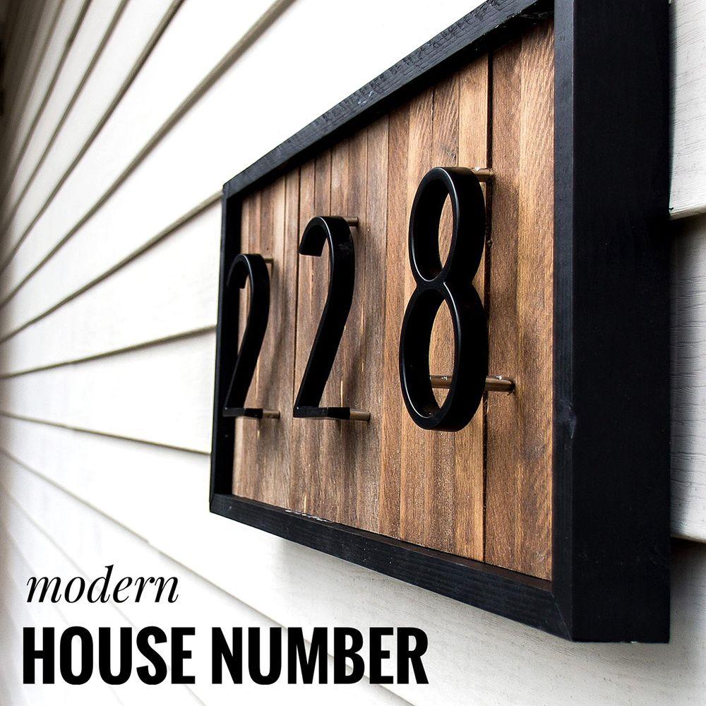 Números 125 mm Número de casa flotante grandes letras del alfabeto moderno puerta principal al aire libre 5 in.Black placa de dirección, Dash raya vertical signo # 0-9