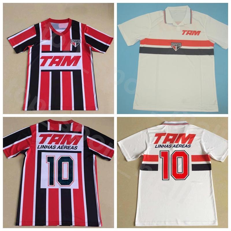 1993 1994 Vintage camisa del fútbol de Sao Paulo Jersey retro Hombres 10 Líneas Aéreas Rojo Blanco brasileña club de fútbol Camisas Kits Número Nombre