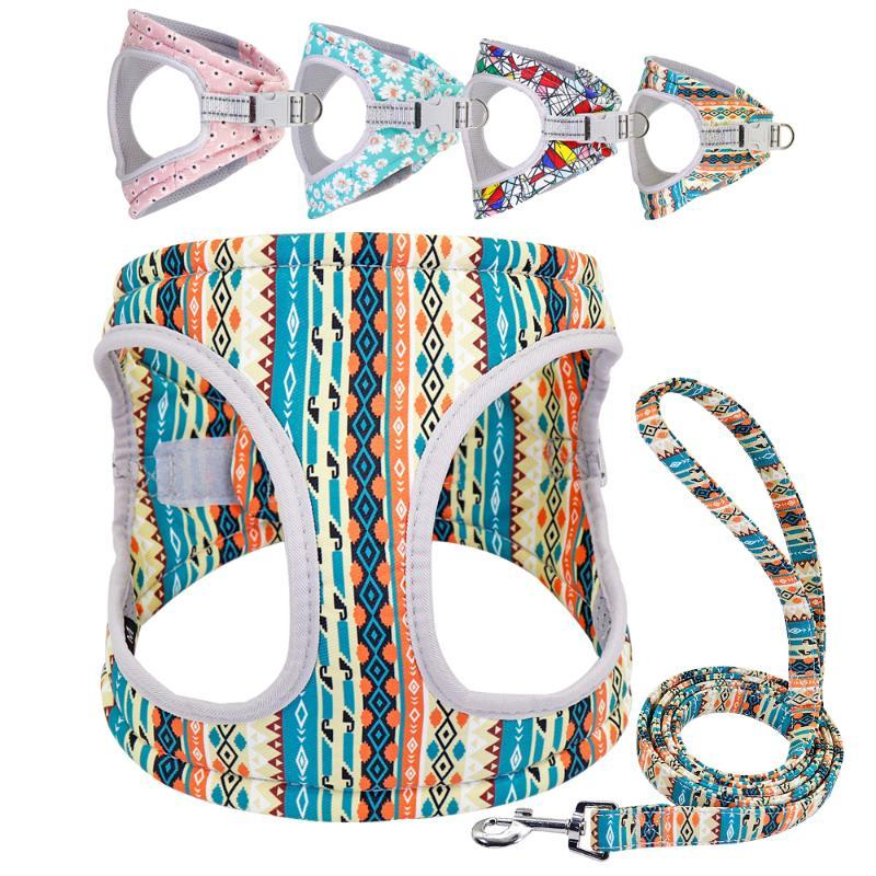 Reflective Small Dog Harness Vest and Leash Set Nylon Mesh Dogs Cat Harness Leash for Chihuahua Puppy Pet Product Adjustable