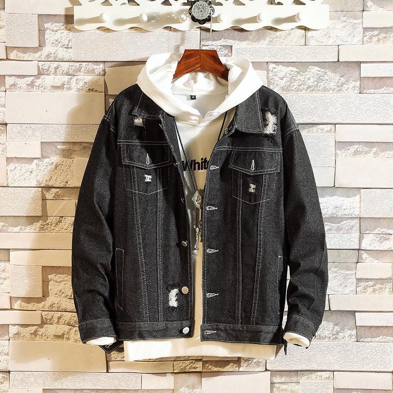 2019 куртки осени Новых молодежной Мужские персонализированное отверстие джинсовая куртка Корейский стиль случайной свободные моды мужских пальто