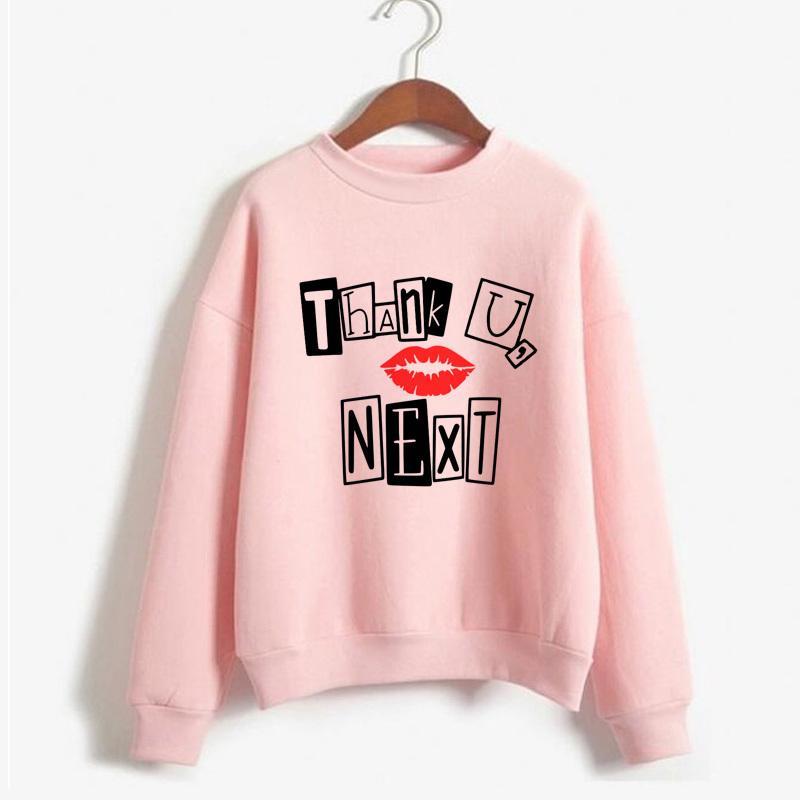 Gracias T Siguiente sudadera Ariana Grande informal Fleece mujeres de la muchacha sudaderas con capucha rosa de manga larga sudadera Superior Femenina T200729