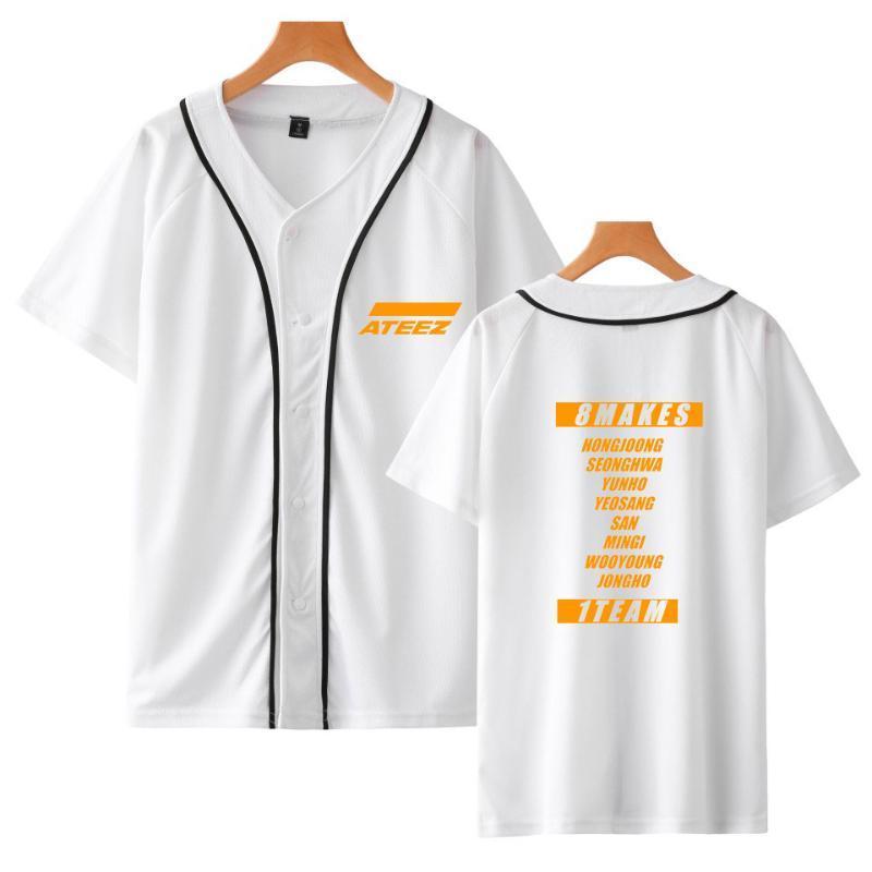 Kpop ATEEZ NEW ATEEZ Kurzärmeliges Baseball T-Shirt Frauen / Männer K- Bangtan beiläufiger Sommer Harajuku Der Button Baseball-T-Shirt