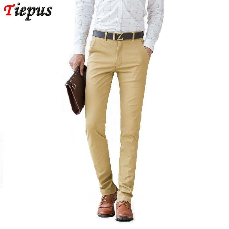 Erkek Pantolon Erkekler Haki Pantolon 2021 Yaz Gündelik Elbise Klasik Erkek Ince Düz Fit Çalışma Iş Kokular Uzun Pamuk Mavi Siyah 38
